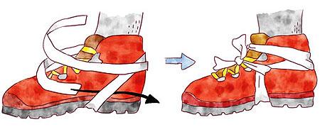登山靴を脱がずに足首を固定する方法